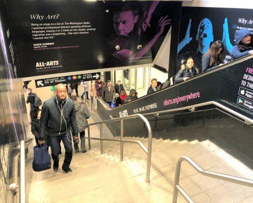 WNET All Arts Subway Entrance Domination Advertising